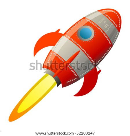 Retro rocket, vector illustration - stock vector