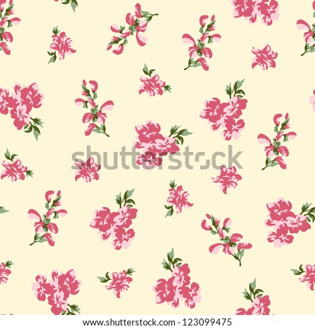 Retro rose seamless in village style - stock vector