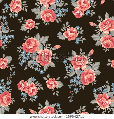 retro roses illustration~ seamless vector background - stock vector