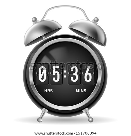 Retro round alarm clock with flip numbers instead of face. Illustration isolated on white background.