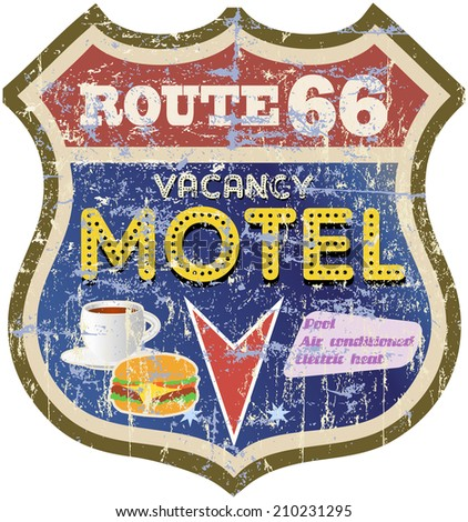 retro route 66 Motel sign,vector eps - stock vector