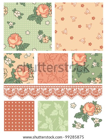 Retro 50's floral vector patterns.  Use to create digital paper or patchwork pieces for quilts or other craft projects.