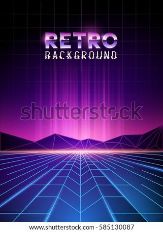 Retro 80s Neon Digital Landscape Light Stock Vector