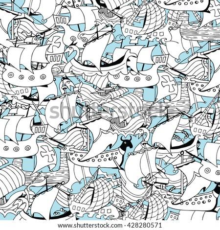 Retro Sail Ships Collage - stock vector