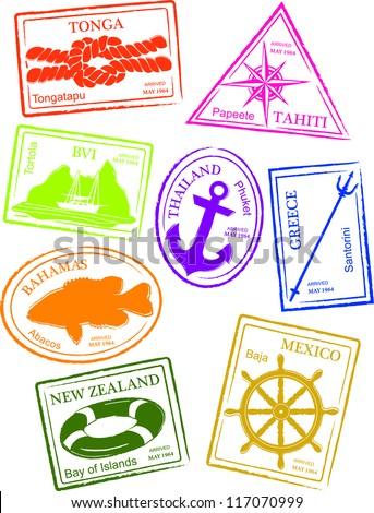 Retro Sailing Passport Stamps Vector Illustration - stock vector