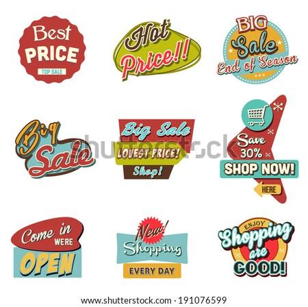 Retro Sale & Discount Sign.Vector - stock vector