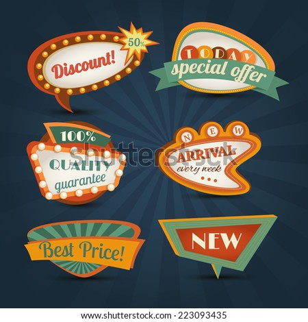 Retro sale discount speech bubble special offer set isolated vector illustration - stock vector
