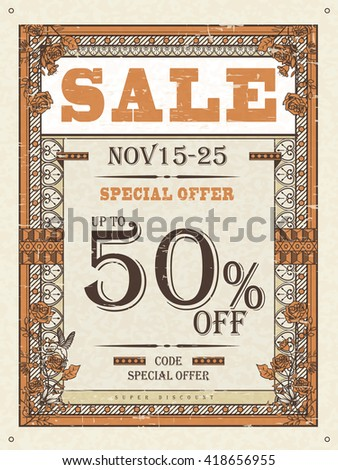 retro sale poster template design with roses and frame - stock vector