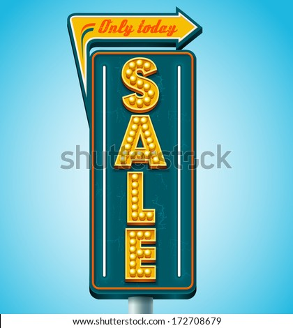 Retro sale signboard. Vector - stock vector