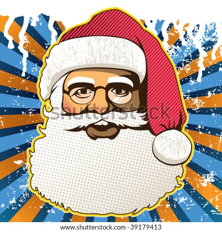 Retro santa claus face. Vector illustration. - stock vector
