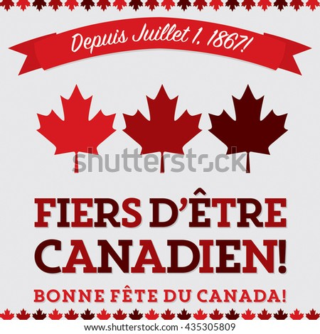 "Retro sash Canada Day maple leaf card in vector format.Translation (top to bottom)  ""Since July 1 1867!"" ""Proud to be Canadian!"" ""Happy Canada Day"" - stock vector"
