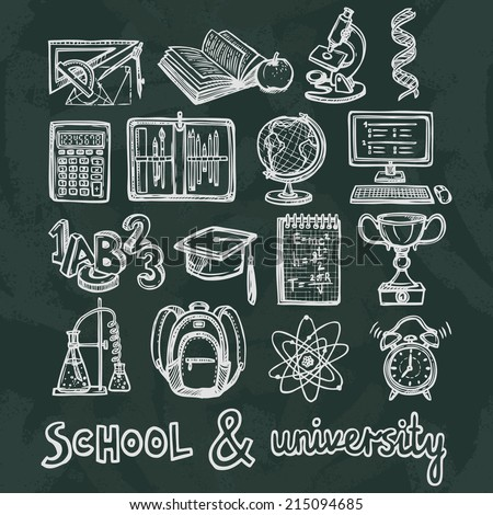 Retro school and university education chalkboard icons set of ruler microscope dna isolated vector illustration - stock vector