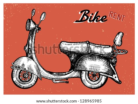 Retro scooter sign for bike rent - stock vector