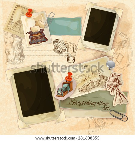 Retro scrapbooking set with vintage postcards and photo frames vector illustration - stock vector