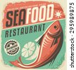 Retro seafood restaurant poster. Vintage bistro sign on old paper texture. Food and drink background theme with fish drawing and lemon slice. - stock vector