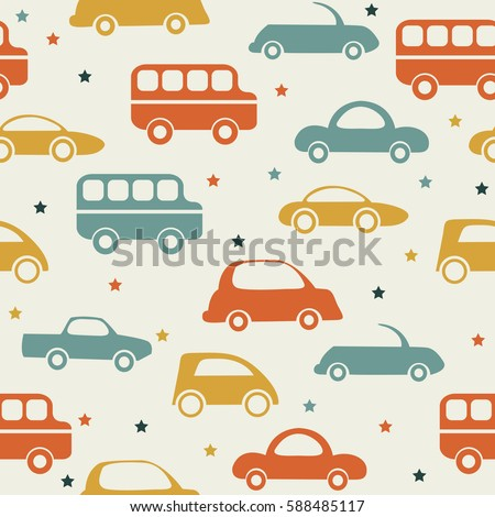 retro seamless car pattern colorful kids background stock vector