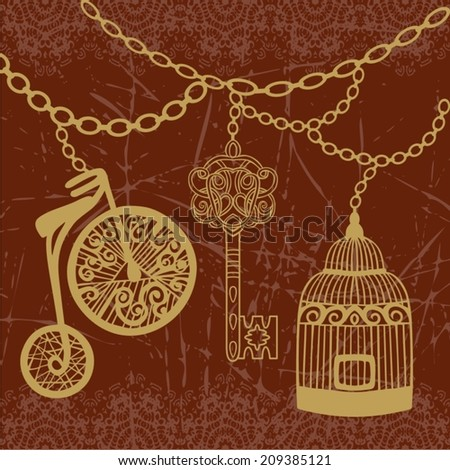 Retro seamless card design of vintage key, bird cage, bike, chain gold and brown color be used for wallpaper, decoupage, label, print on t-shirt, book cover, scrapbook - stock vector.  - stock vector