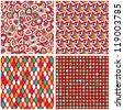 Retro Seamless Geometric Pattern Set. Rhomb and Dot Background - stock vector