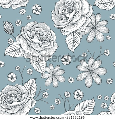 retro seamless hand drawn rose pattern over blue background - stock vector