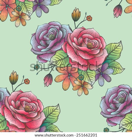 retro seamless hand drawn rose pattern over green background - stock vector
