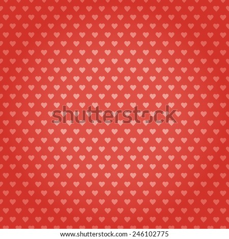Retro seamless heart pattern - Pink hearts on red background. Vector illustration EPS10.