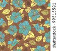 retro Seamless hibiscus pattern. brown, yellow, blue.repeating floral pattern - stock vector