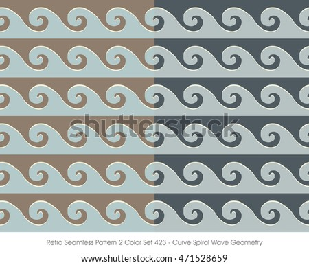 Retro Seamless Pattern 2 Color Set_423 Curve Spiral Wave Geometry