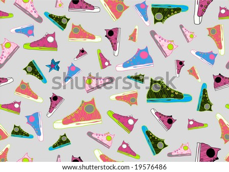 Retro Seamless Pattern made of cool hand-drawn sport shoes in different colors. Vector illustration - stock vector