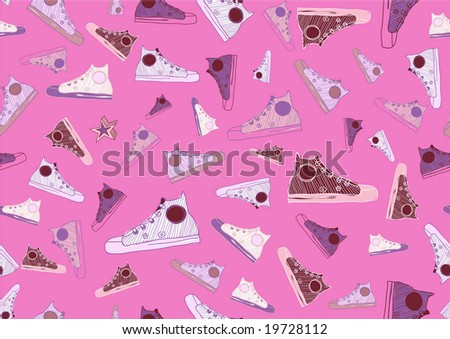 Retro Seamless Pattern made of cool hand-drawn sport shoes on bright pink background. Vector illustration - stock vector