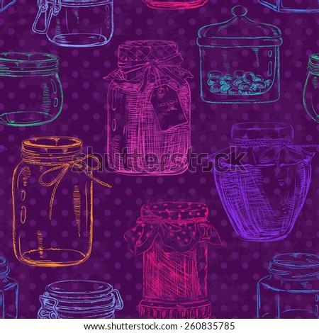 Retro seamless pattern of sketch mason jars on a purple polka dot background - stock vector