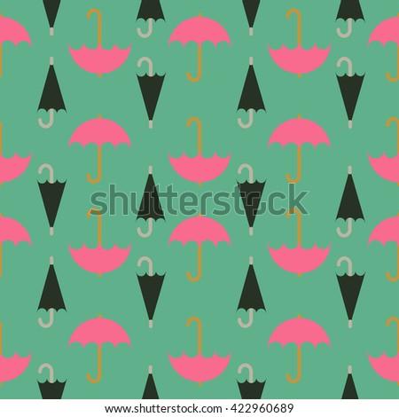 Retro seamless pattern of umbrella; editable color background. - stock vector