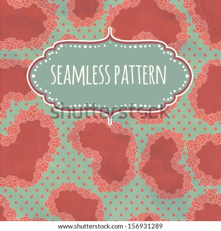 Retro seamless pattern on silk with hearts