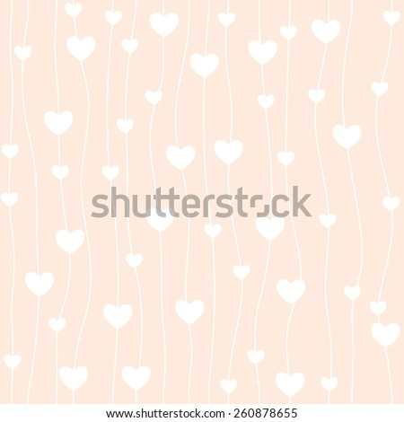 Retro seamless pattern. Pink hearts and on rose background - stock vector