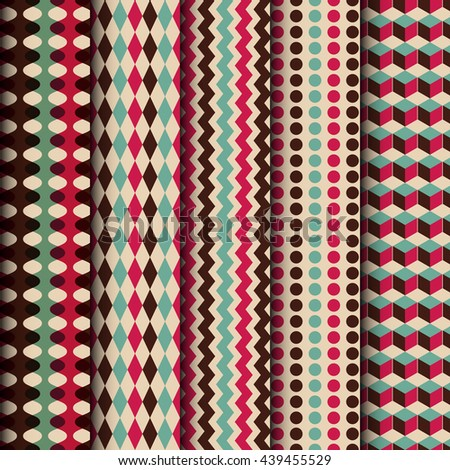 retro seamless pattern set, vector background, vintage style - stock vector