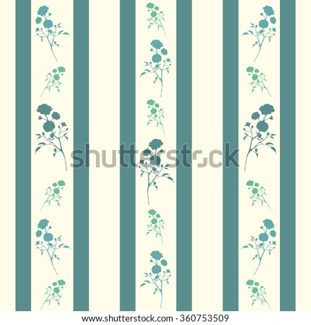 Retro seamless pattern with blue silhouettes of roses and stripes. Vintage seamless pattern with blue roses and stripes