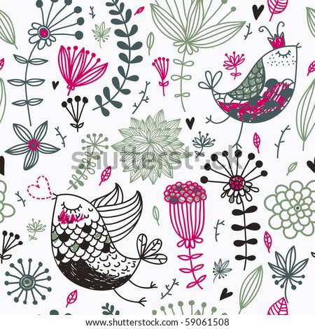 Retro seamless pattern with cartoon birds for vintage wallpapers - stock vector