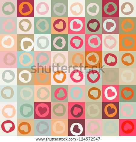 Retro seamless pattern with colorful hearts. And also includes EPS 8 vector