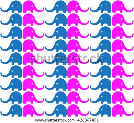 Retro seamless pattern with Elephants - stock vector