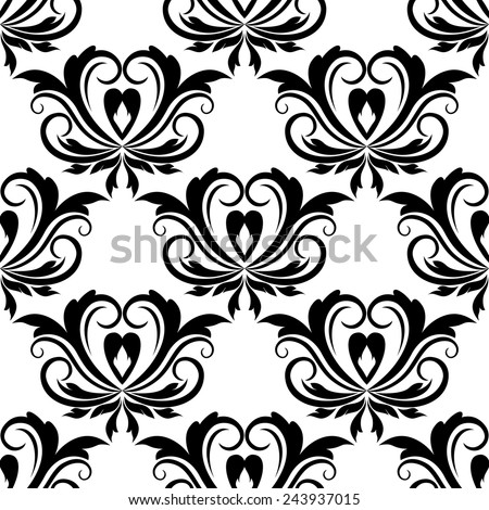 Retro seamless pattern with flourishes and floral motifs - stock vector