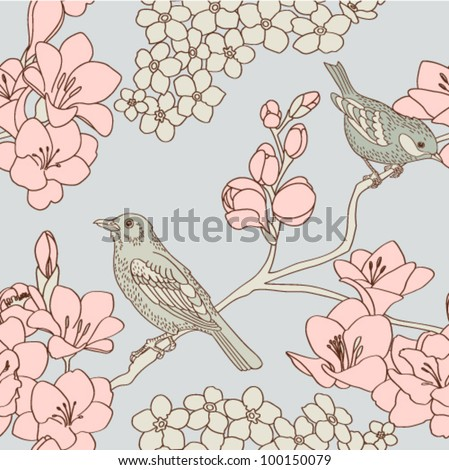 retro seamless pattern with flowers and birds - stock vector
