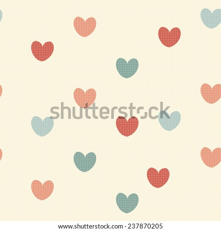 Retro seamless pattern with hearts. Vector illustration for romantic design. Endless texture. - stock vector