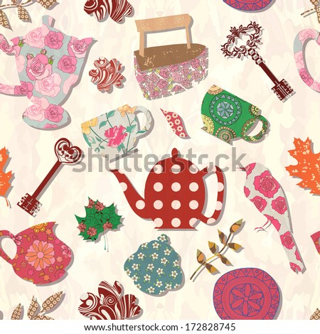 Retro seamless pattern with household items