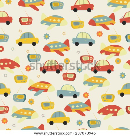 Retro seamless pattern with transistor radio, car and plane. - stock vector