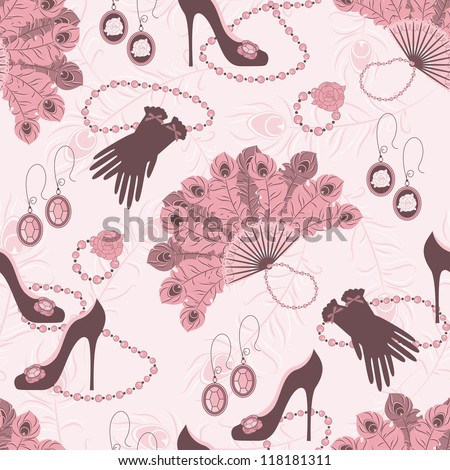 Retro seamless pattern  with women accessory. Hand drawing illustration. - stock vector