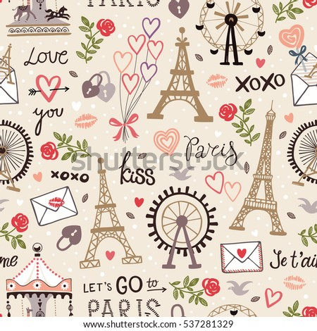 Retro seamless pattern with words, letters, roses, locks, balloons and Eiffel tower. Vector wallpaper with French landmarks