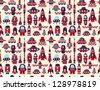 retro seamless rocket pattern - stock vector