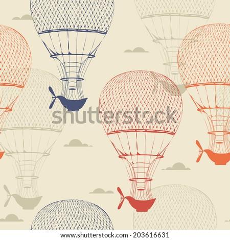Retro seamless travel pattern of balloons. Vector illustration. Retro style. - stock vector