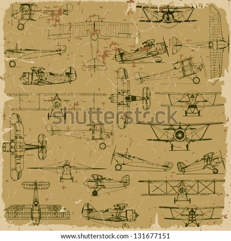 Retro seamless vintage airplanes pattern old paper. Plus three objects  cracked surface. Grunge effects can be removed. - stock vector