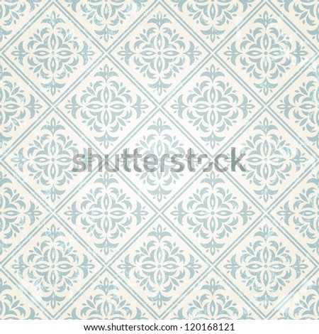 Retro seamless wallpaper. EPS 10 vector illustration.  Grunge effect can be removed. - stock vector