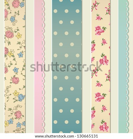 Retro seamless with sewn pieces of different fabrics - stock vector